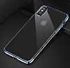 Baseus Glitter iPhone X Lacivert Kenarlı Şeffaf Rubber Kılıf - Resim 9
