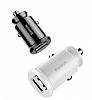 Baseus Grain Çift USB Girişli Beyaz Araç Şarj Aleti - Resim 1