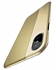 Baseus Half to Half iPhone X Gold Silikon Kılıf - Resim 10