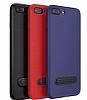 Baseus Happy iPhone 7 Plus / 8 Plus Standlı Deri Görünümlü Lacivert Silikon Kılıf - Resim 5