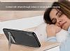 Baseus iPhone X Standlı Deri Görünümlü Beyaz Silikon Kılıf - Resim 10