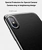 Baseus iPhone X Standlı Deri Görünümlü Beyaz Silikon Kılıf - Resim 3