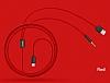Baseus L34 Ligtning Girişli USB Kırmızı Aux Şarj Kablosu 1.20m - Resim 1