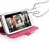 Baseus HTC One Faith Kapaklı Pembe Deri Kılıf - Resim 5