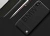 BMW iPhone X Gerçek Deri Siyah Rubber Kılıf - Resim 1