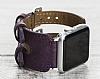 Bouletta Apple Watch Gerçek Deri Mor Kordon G7 (42 mm) - Resim 5