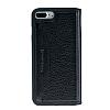 Bouletta Book Klug iPhone 7 Plus / 8 Plus Standlı Kapaklı Floater Black Gerçek Deri Kılıf - Resim 1