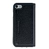 Bouletta Book Klug iPhone 7 / 8 Standlı Kapaklı Floater Black Gerçek Deri Kılıf - Resim 3