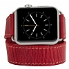 Burkley Apple Watch Çift Tur Antique Red Gerçek Deri Kordon (38 mm) - Resim: 2
