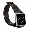 Burkley Apple Watch Çift Tur Rustic Black Gerçek Deri Kordon (42 mm) - Resim: 1