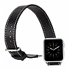 Burkley Apple Watch / Watch 2 Çift Tur Rustic Black Gerçek Deri Kordon (42 mm) - Resim: 7