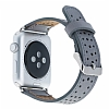 Burkley Apple Watch RST9 Delikli Gri Gerçek Deri Kordon (42 mm) - Resim: 2