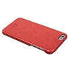 Burkley Snap On iPhone 6 / 6S Gerçek Deri Creased Red Rubber Kılıf - Resim: 7