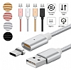Cortrea Lightning Micro USB Type-C Gold Manyetik Data Kablosu 1m - Resim 2