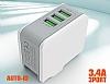 Cortrea Power Up Yüksek Kapasiteli 4 USB Port Çoklu Ev Şarj Adaptörü - Resim 2