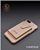 Dafoni Air Jacket iPhone 6 Plus / 6S Plus Cüzdanlı Gold Deri Kılıf - Resim 6
