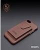 Dafoni Air Jacket iPhone 6 Plus / 6S Plus Cüzdanlı Kahverengi Deri Kılıf - Resim 6