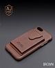 Dafoni Air Jacket iPhone 7 Plus / 8 Plus Cüzdanlı Kahverengi Deri Kılıf - Resim 5