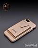 Dafoni Air Jacket iPhone 7 Plus / 8 Plus Cüzdanlı Gold Deri Kılıf - Resim 6
