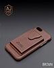 Dafoni Air Jacket iPhone X / XS Cüzdanlı Kahverengi Deri Kılıf - Resim 7