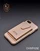 Dafoni Air Jacket iPhone X Cüzdanlı Gold Deri Kılıf - Resim 6