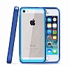 Dafoni Color Side iPhone SE / 5 / 5S Kristal Mavi Kılıf - Resim 3