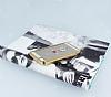 Dafoni Crystal Dream iPhone SE / 5 / 5S Taşlı Ring Şeffaf Silikon Kılıf - Resim 1