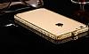 Dafoni Crystal Dream iPhone 6 / 6S Metal Taşlı Bumper Çerçeve Gold Kılıf - Resim 5