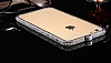 Dafoni Crystal Dream iPhone 6 / 6S Metal Taşlı Bumper Çerçeve Silver Kılıf - Resim 4
