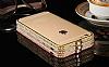 Dafoni Crystal Dream iPhone 6 / 6S Metal Taşlı Bumper Çerçeve Gold Kılıf - Resim 2