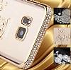 Dafoni Crystal Dream Samsung Galaxy E5 Taşlı Kalp Rose Gold Kenarlı Silikon Kılıf - Resim 1