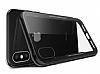 Dafoni Glass Shield iPhone X Siyah Silikon Kenarlı Cam Kılıf - Resim 1