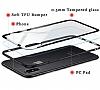 Dafoni Glass Shield iPhone X Siyah Silikon Kenarlı Cam Kılıf - Resim 5