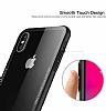 Dafoni Glass Shield iPhone X Beyaz Silikon Kenarlı Cam Kılıf - Resim 2