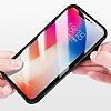 Dafoni Glass Shield iPhone X Beyaz Silikon Kenarlı Cam Kılıf - Resim 5