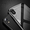 Dafoni Glass Shield iPhone XR Gold Silikon Kenarlı Cam Kılıf - Resim: 1