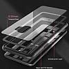 Dafoni Glass Shield Samsung Galaxy A8 2018 Siyah Silikon Kenarlı Cam Kılıf - Resim 1