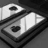 Dafoni Glass Shield Samsung Galaxy A8 2018 Siyah Silikon Kenarlı Cam Kılıf - Resim 3
