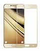 Dafoni Samsung Galaxy C5 Pro Curve Tempered Glass Premium Full Gold Cam Ekran Koruyucu - Resim 6