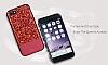 DZGOGO iPhone 6 / 6S Işıltılı Kırmızı Deri Kılıf - Resim 4