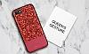DZGOGO iPhone 7 / 8 Işıltılı Kırmızı Deri Kılıf - Resim 11