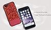 DZGOGO iPhone 7 Plus / 8 Plus Işıltılı Kırmızı Deri Kılıf - Resim 4