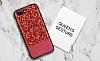DZGOGO iPhone 7 Plus / 8 Plus Işıltılı Kırmızı Deri Kılıf - Resim 10