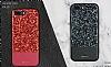 DZGOGO iPhone 7 Plus / 8 Plus Işıltılı Kırmızı Deri Kılıf - Resim 6