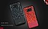 DZGOGO Samsung Galaxy S8 Işıltılı Kırmızı Deri Kılıf - Resim 7