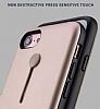 Eiroo Alloy Fit iPhone 7 / 8 Selfie Yüzüklü Rose Gold Metal Kılıf - Resim 1