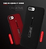 Eiroo Alloy Fit iPhone 7 Plus / 8 Plus Selfie Yüzüklü Siyah Metal Kılıf - Resim 6