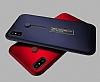 Eiroo Alloy Fit iPhone X Selfie Yüzüklü Metal Kırmızı Kılıf - Resim 2