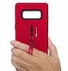 Eiroo Alloy Fit Samsung Galaxy Note 8 Selfie Yüzüklü Kırmızı Metal Kılıf - Resim 2