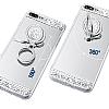 Eiroo Bling Mirror iPhone 7 Plus / 8 Plus Silikon Kenarlı Aynalı Silver Rubber Kılıf - Resim 1